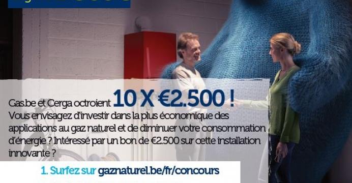 Gas.be et Cerga octroient 10 X €2.500 !